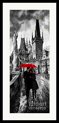 Charles Bridge Mixed Media Framed Prints