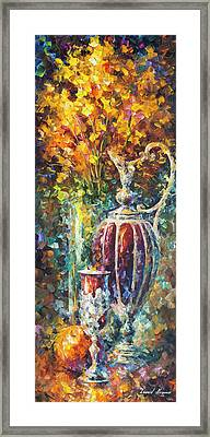 Red Vase Framed Print by Leonid Afremov