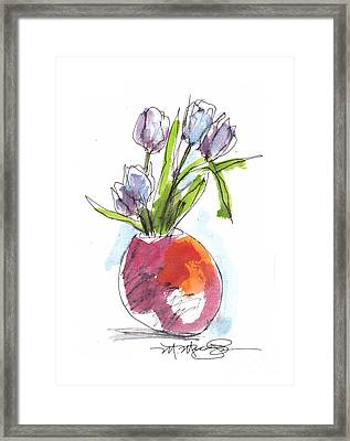Red Vase With Tulips Framed Print