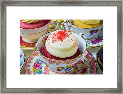 Red Velvet Cupcake In Tea Cup Framed Print by Garry Gay