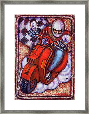 Red Vespa Framed Print