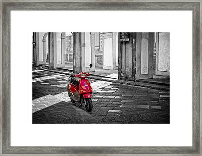 Red Vespa Framed Print by Michael Avory