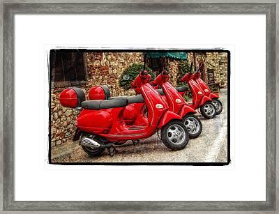 Red Vespas Framed Print by Mauro Celotti