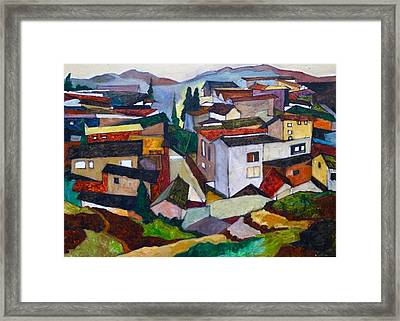 Red Village Framed Print by Wei Pan