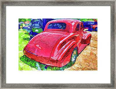 Red Vintage Car Framed Print by Lanjee Chee