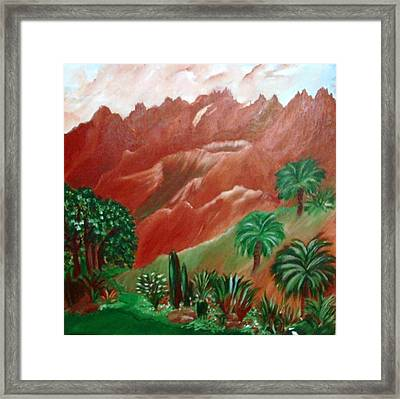 Framed Print featuring the painting Red Volcano by Sherri  Of Palm Springs