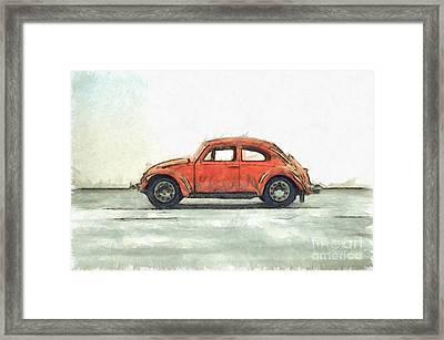 Red Vw Beetle Bug Pencil Framed Print by Edward Fielding