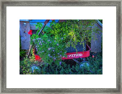 Red Wagon In The Garden Framed Print by Garry Gay