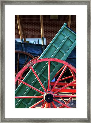 Red Wagon Wheel Framed Print