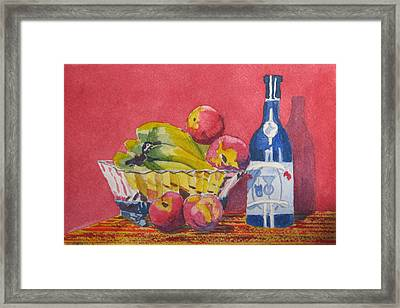 Red Wall Blue Wine Framed Print by Libby  Cagle