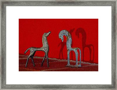 Framed Print featuring the digital art Red Wall Horse Statues by Jana Russon