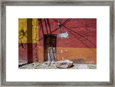 Red Wall - San Miguel De Allende Framed Print by Amy Fearn