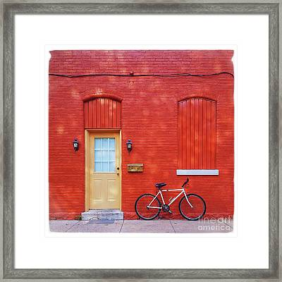 Red Wall White Bike Framed Print by Edward Fielding