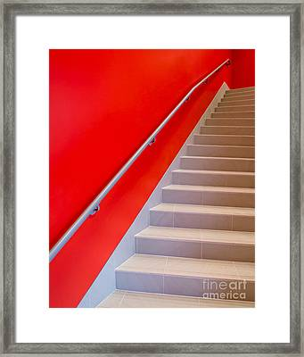 Red Walls Staircase Framed Print by Edward Fielding