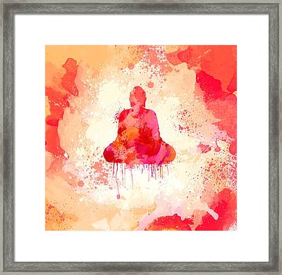 Red Watercolor Buddha Paining Framed Print by Thubakabra