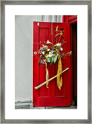Red Welcome Framed Print by Christopher Holmes