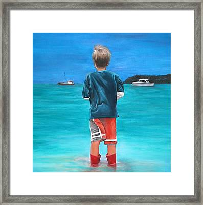 Red Wellies Framed Print by Fiona Jack