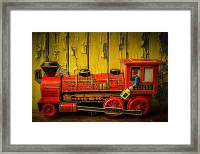 Red Western Toy Train Framed Print