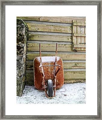 Red Wheelbarrow Framed Print by Susan Leggett