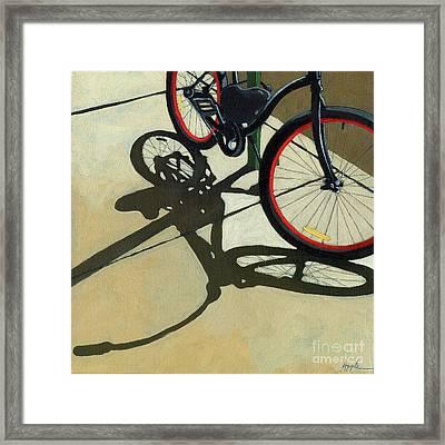 Red Wheels - Bicycle Art Oil Painting Framed Print by Linda Apple