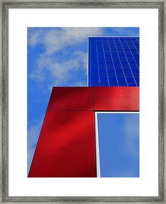 Red White And 2 Shades Of Blue Framed Print by Paul Wear