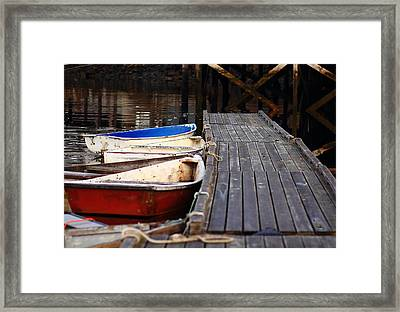 Red, White, And Blue Dingys Framed Print