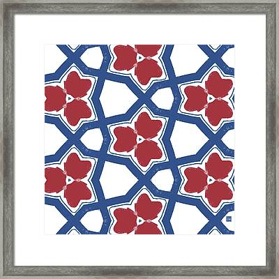 Red White And Blue Floral Motif- Art By Linda Woods Framed Print