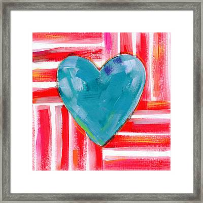 Red White And Blue Love- Art By Linda Woods Framed Print by Linda Woods
