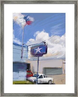 Red White And Blue Framed Print by Russell Pierce
