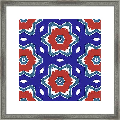 Red White And Blue Star Flowers 2 - Pattern Art By Linda Woods Framed Print