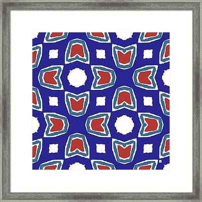 Red White And Blue Tulips Pattern- Art By Linda Woods Framed Print