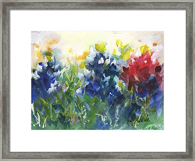 Red White And Bluebonnets Watercolor Painting By Kmcelwaine Framed Print