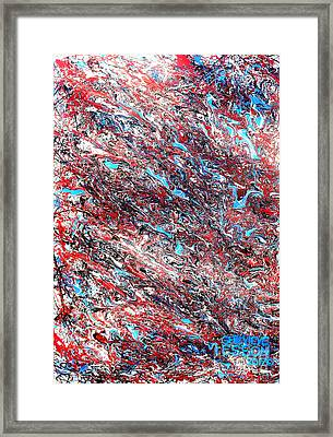 Framed Print featuring the painting Red White Blue And Black Drip Abstract by Genevieve Esson