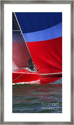 Red White Blue And Water Framed Print by Sandy Byers