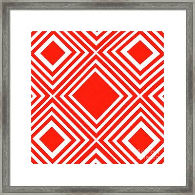 Red White Pattern By Kaye Menner Framed Print