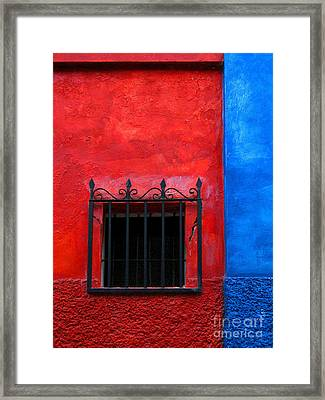 Red Window With Blue By Darian Day Framed Print