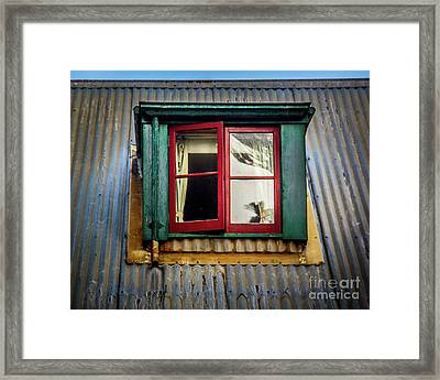 Framed Print featuring the photograph Red Windows by Perry Webster