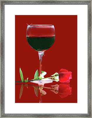 Red Wine And Rose Framed Print
