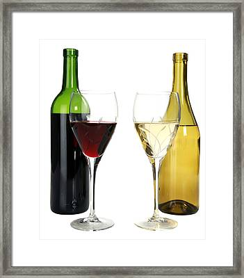 Red Wine And White Wine In Cut Crystal Wine Glasses  Framed Print