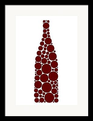 Red Wine Bottle Drawings Framed Prints