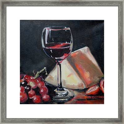 Red Wine Cheese Grapes Strawberries Still Life Framed Print by Donna Tuten