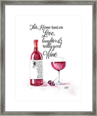 Red Wine Framed Print by Colleen Taylor