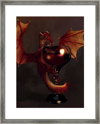Red Wine Dragon Framed Print by Daniel Eskridge