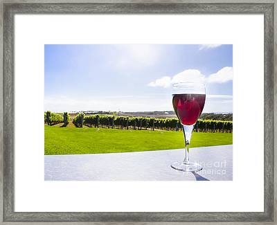 Red Wine Glass At Tasmania Countryside Winery Framed Print by Jorgo Photography - Wall Art Gallery