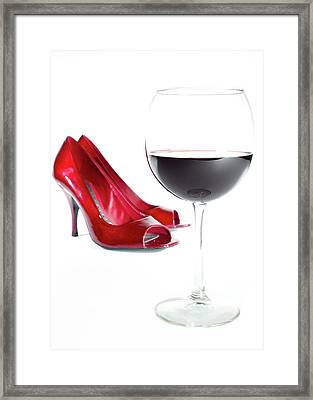 Red Wine Glass Red Shoes Framed Print
