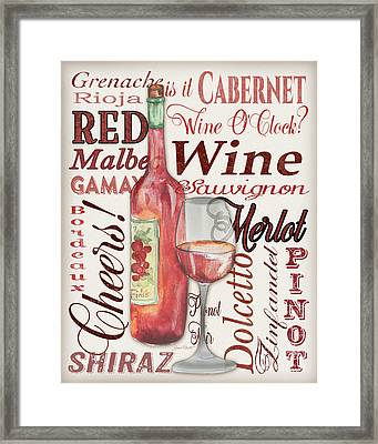 Red Wine-jp3975 Framed Print by Jean Plout