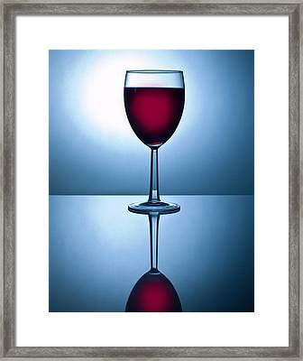 Red Wine With Reflection Framed Print by David Thompson