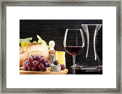 Red Wine With Wine Grapes Cheese Plate And Bread Framed Print