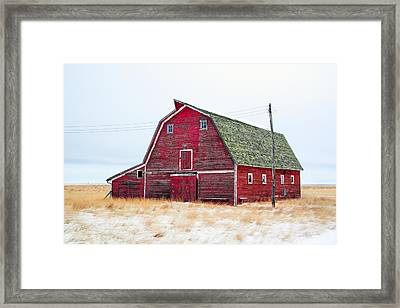 Red Winter Barn Framed Print