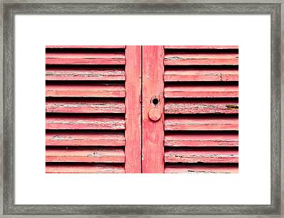 Red Wooden Door Framed Print by Tom Gowanlock